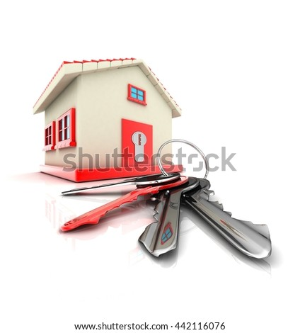 HOUSE AND KEYS   ( 3D rendering - stock photo