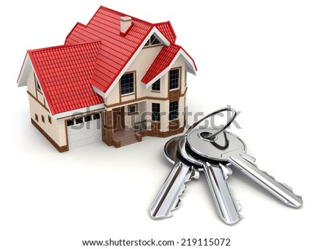 House and keys on white isolated background. 3d - stock photo