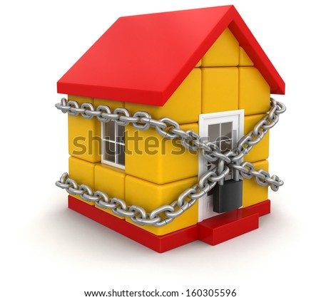 House and lock (clipping path included) - stock photo