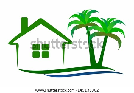 House and palm trees - stock photo