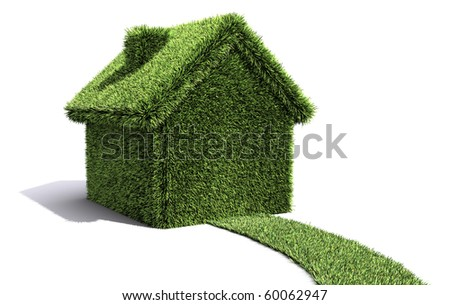 House and path covered in grass showing environmentally friendly living. - stock photo
