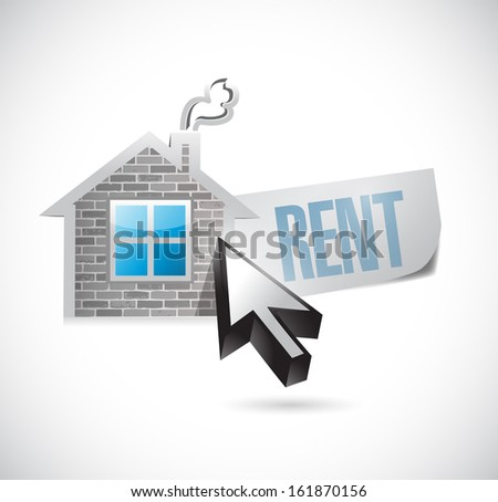 house and rent message illustration design over white - stock photo