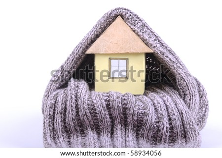 House and  scarf on the white background