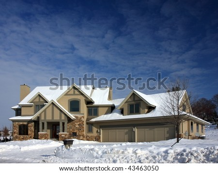 House and snow in Minnesota - stock photo