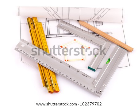 house and  tools - stock photo