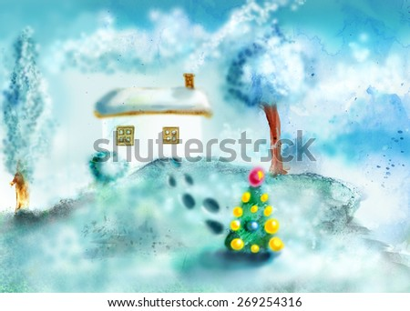 House and two trees on the hill, in the children's drawing style - stock photo