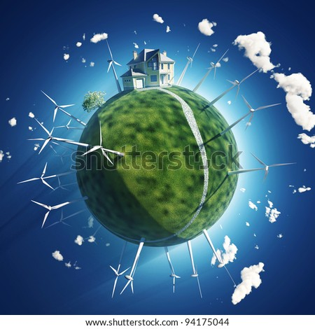 house and wind turbine on green planet - stock photo