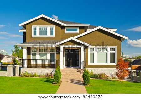 house at sunny day in Vancouver, Canada. - stock photo