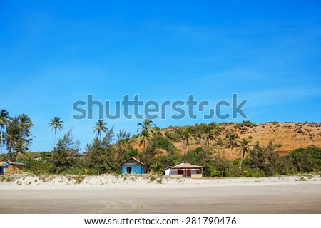 House at tropical beach for rent - stock photo