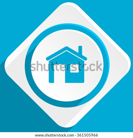 house blue flat design modern icon for web and mobile app - stock photo