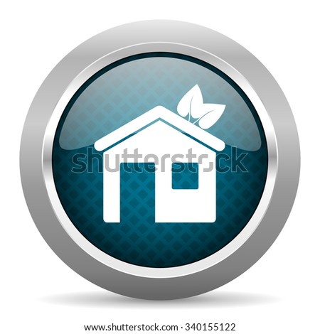 house blue silver chrome border icon on white background