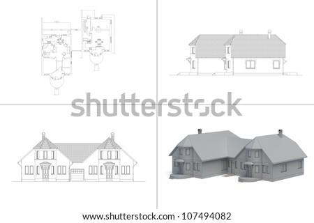 house blueprint - stock photo