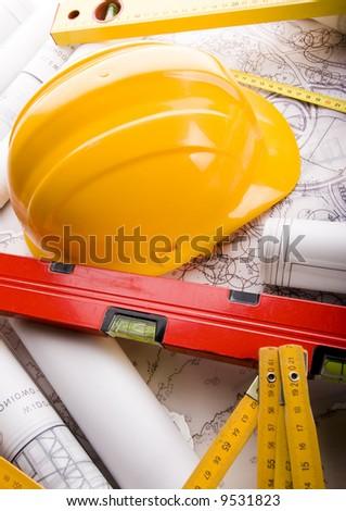 House blueprints close up - stock photo