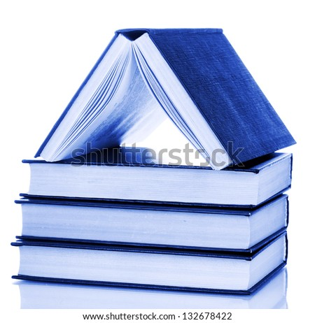 house built of books isolated on white - stock photo