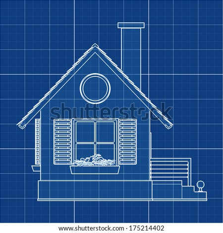 house. Cad cartoon white drawing on blue background illustration outline. High resolution 3D  - stock photo