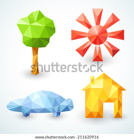House, car, tree and sun icons set. Illustration for your modern funny lovely design. Banner of bright polygonal origami  symbols of family values for your business presentation. - stock photo