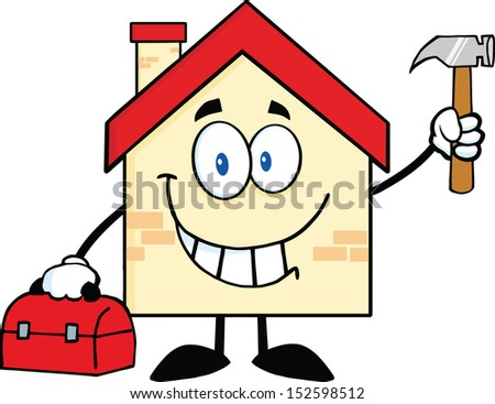 House Cartoon Mascot Character Worker With Tool Box And Holding Up A Hammer. Raster Illustration