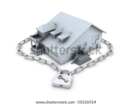 House, chain, closed padlock and key isolated on white background