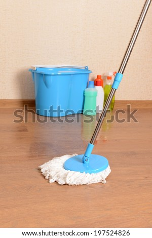 House cleaning equipment with  mop - stock photo