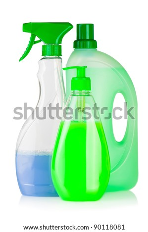 House cleaning product. Plastic bottles with detergent and liquid soap isolated on white background - stock photo