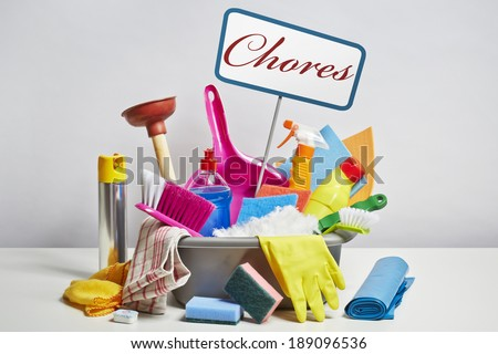 House cleaning products pile. Household chore concept on white background - stock photo