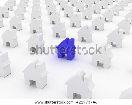 House colored  among white houses, 3D rendering - stock photo