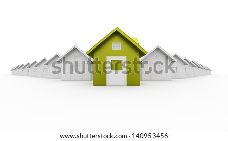 House concept rendered one is green isolated on white background - stock photo