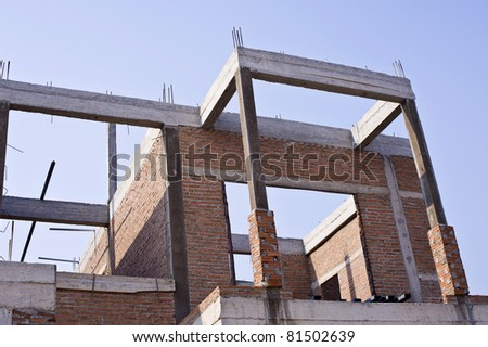 house construction from brick - stock photo