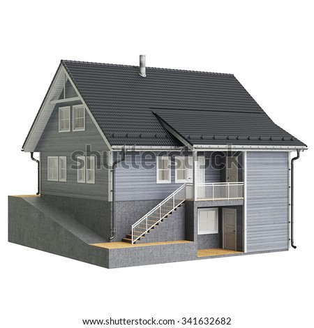 House cottage wooden facade. 3D graphic isolated object on white background - stock photo