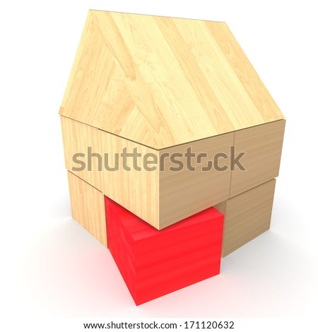 house cubes - red cube - stock photo