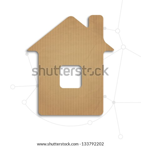 House cut out of cardboard. Raster version - stock photo