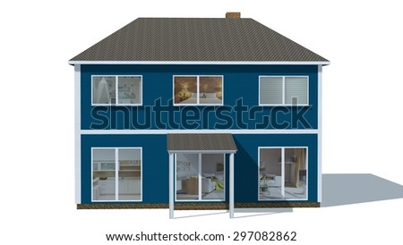 House 3D Building model isolated on white background
