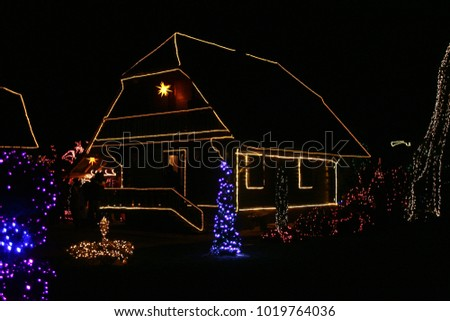 House decorated with Christmas lights in Croatia