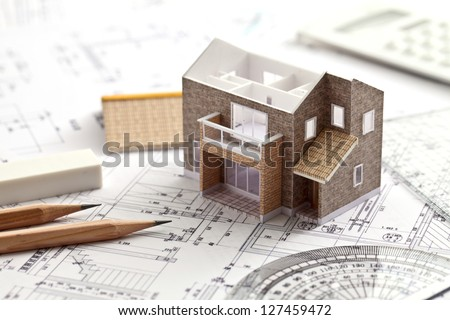 House, design, drawing - stock photo