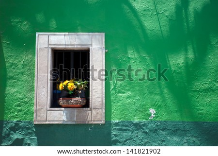 House detail in Guanajuato, Mexico. - stock photo