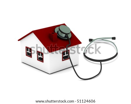 House diagnostics. House with stethoscope isolated on white background. High quality 3d render. - stock photo
