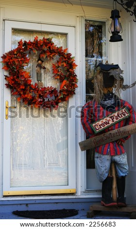 House doorway decorated for Halloween - stock photo