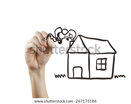 house drawn by hand over white background