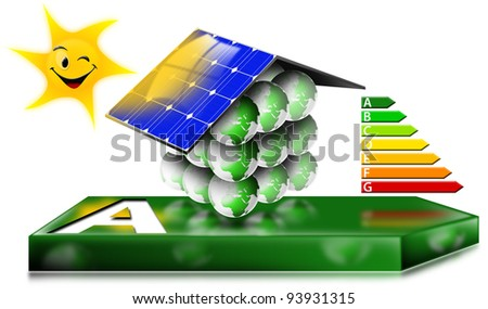 House Energy Saving Concept / Ecological house with photovoltaic panels and sun with a smile - stock photo