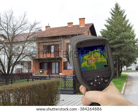 House Facade Thermal Imaging Analysis - stock photo