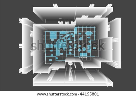 House family plan with 2d and simulation 3d illustration. - stock photo