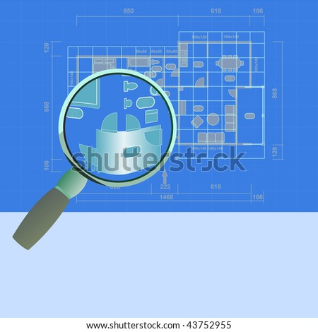 House family plan with magnifying glass. - stock photo