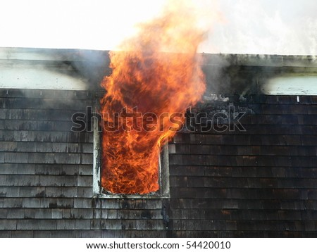 House fire close up - stock photo