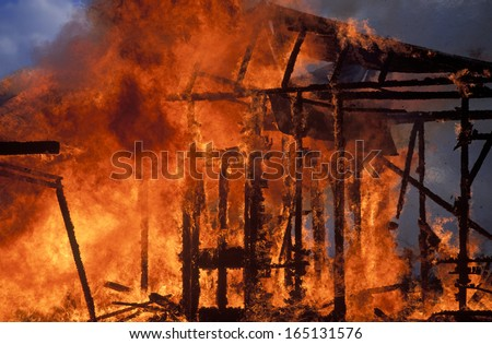House fire in Country Victoria, Australia. - stock photo