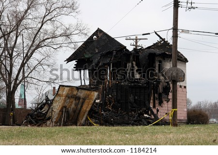 House fire remains - stock photo