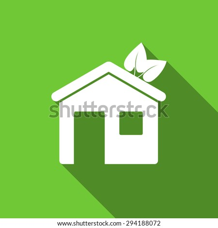 house flat icon ecological home symbol original modern design flat icon for web and mobile app with long shadow  - stock photo