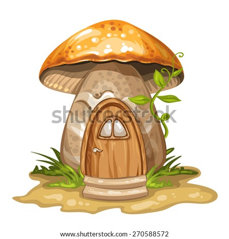House for gnome made from mushroom - stock photo