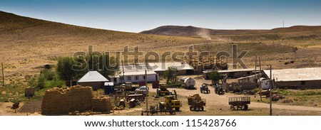 House for livestock in the steppe of Kazakhstan - stock photo