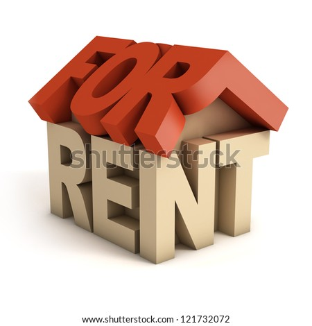 house for rent 3d icon - stock photo