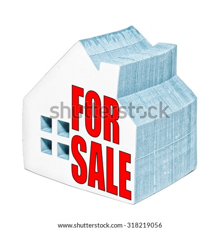 House for sale concept made from a house shaped post it notepad. - stock photo